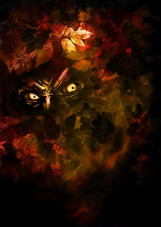Ilustração mal criatura de vista das folhas de outono