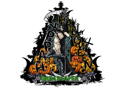 Halloween ilustração composição de cores com uma mulher bonita seminua e abóboras. texto feito à mão é meu próprio projeto. Banco de Imagens
