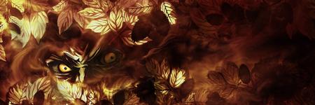 Ilustração olhos maus procura a partir das folhas de outono Banco de Imagens