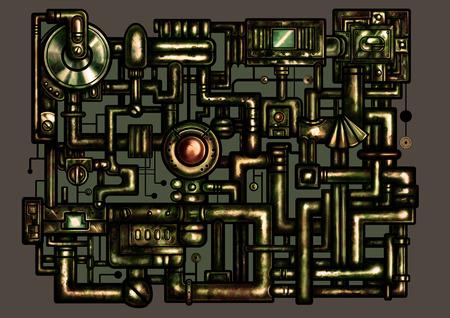 Composição da ilustração de fantasia no estilo oxidado consistem em tubos e mecanismo industrial