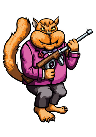 Illustration cat gangster in a suit with a gun