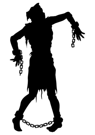 Illustration zombie victim silhouette with a sack on his head, with chains  on hands and feet. He was tortured and risen