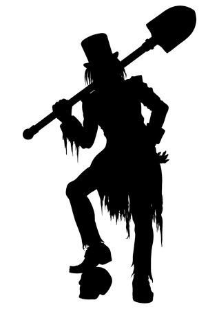 Gravedigger em roupas esfarrapadas vitorianas e top-cabana. Ele se inclina em um crânio