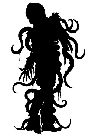 homem zombie Ilustração com polvo em sua cabeça e tentáculos enredado seu corpo Banco de Imagens