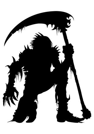 Ilustração guerreiro morto em uma armadura com uma foice