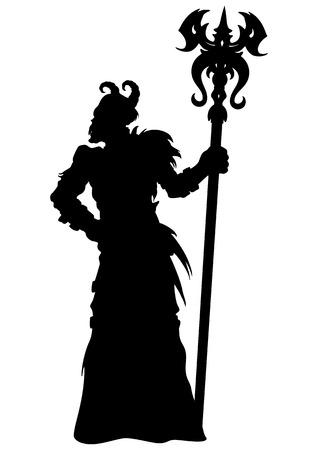 Illustration horned demon wizard figure with a magic staff Banco de Imagens