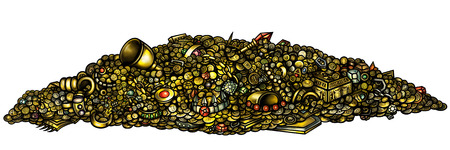 Illustration pile of treasure with gold, jewelry, gems, coins, artefacts