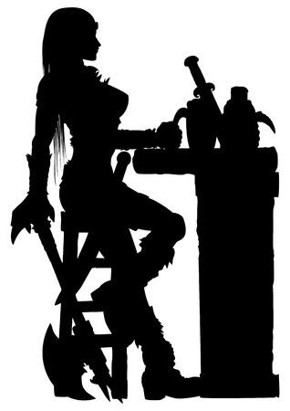Fantasia ilustração mulher guerreira com um machado sentado em uma taverna. Ela segura um copo de cerveja