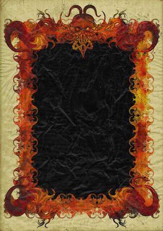 Illustration medieval background with sinister bizarre frame with copy space