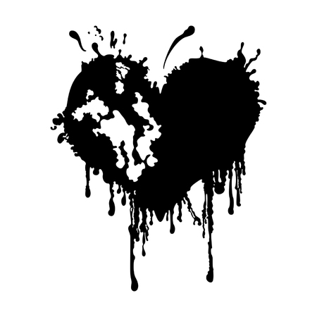 Illustration a black heart like an ink blot Illustration
