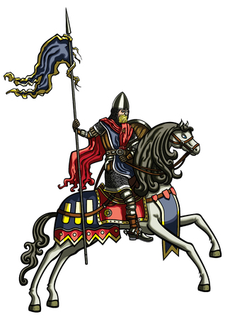 Illustration medieval riding warrior with a banner ribbon on a spear