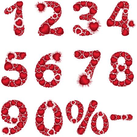 Símbolos de número de ilustração zero a nove, menos e por cento consistem em corações de valentim. Fontes e elementos feitos à mão são meu próprio design