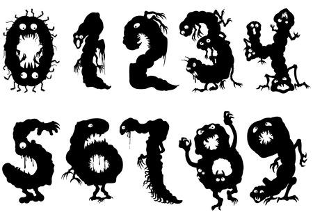 Símbolos de ilustração zero a nove. Figuras pictográficas pretas como monstros com olhos