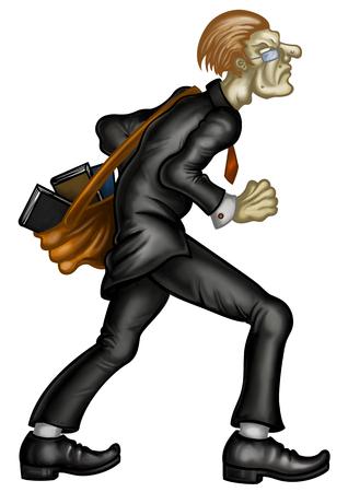 Ilustração de um homem vestindo terno e óculos. Ele aperta as mãos nos punhos prontos para lutar