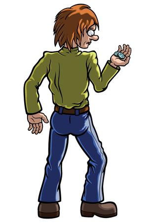Ilustração do homem dos desenhos animados que olha tristemente em duas pequenas moedas de valor