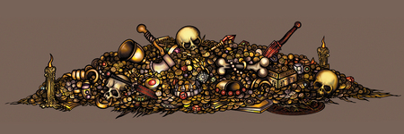Illustration pile of treasure with coins, gold, jewelry, gems, artefacts, skulls, weapon