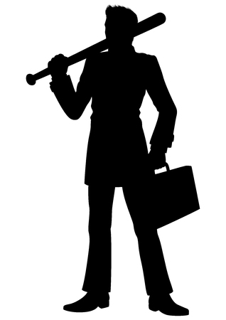 Illustration a man, dressed in a costume. He holds a baseball bat and a case