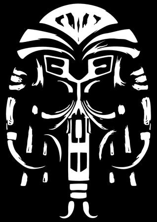 Ilustração simbólica de um crânio ou uma máscara de xamã. Preto e branco