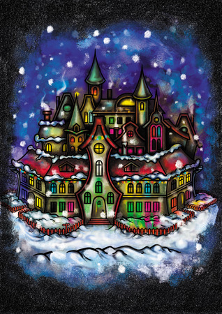 Illustration background with a fantasy town, snowfall, night sky and snowdrifts