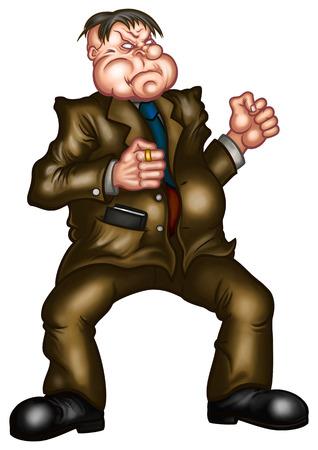 Ilustração de um homem gordo pronto para lutar, apertando os punhos. Ele vestiu uma fantasia