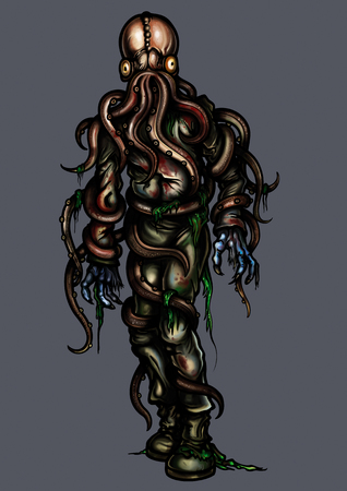 Illustration zombie man with octopus on his head and tentacles entangled his body