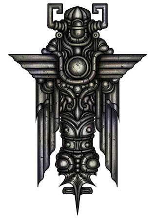 Illustration fantasy decorative stone figure with wings in horned helmet Banco de Imagens