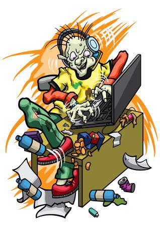 Ilustração de um administrador do sistema, sentado em uma mesa, digitando em um laptop e falando em um telefone celular. O lixo está ao seu redor.