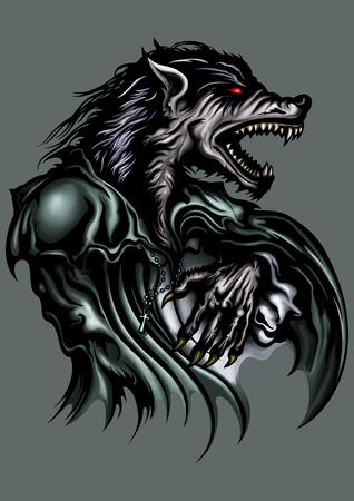 Illustration a roaring werewolf dressed in old fashioned clothes