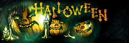 Halloween banner with sinister pumpkins, candles and spiderwebs in the mist. Handmade text by my own design.
