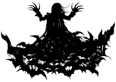 mythological character: Silhouette of a vampire turning into bats cloud