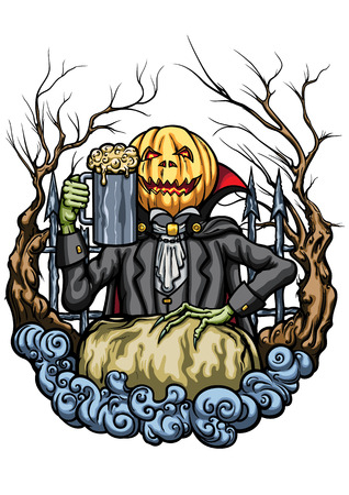Illustration an emblem with Pumpkin Head Jack, cheering with mug of beer Stock Photo
