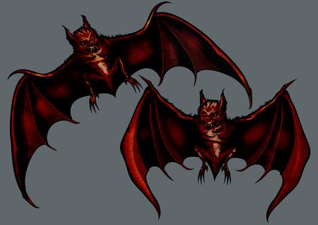 Illustration two eerie halloween bats Banco de Imagens