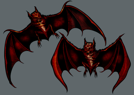 Illustration two eerie halloween bats Stock Photo