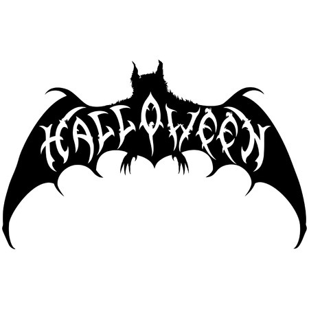 Illustration halloween title placed into a bat silhouette. Handmade text halloween by my own design.