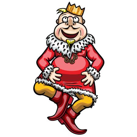 Illustration cartoon funny dancing fabled king Ilustração