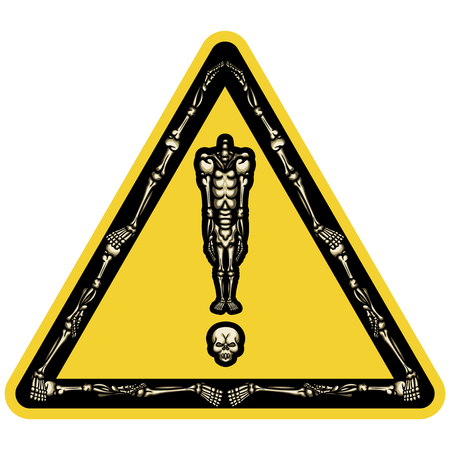 Illustration exclamation mark consist of headless skeleton standing on his skull in form like road sign or sticker