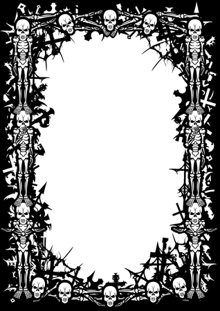Black&white frame with skeletons, cemetery crosses, bones, skulls, spider webs and copy space.