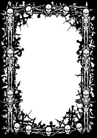 Quadro preto e branco com esqueletos, cruzamentos de cemit