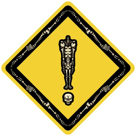 A marca de exclamação de ilustração consiste em esqueleto sem cabeça em pé no crânio na forma de rombo como sinal de estrada ou adesivo Banco de Imagens