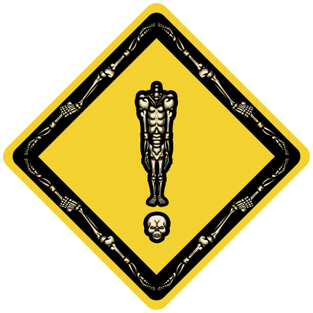 Illustration exclamation mark consist of headless skeleton standing on his skull in rhombus form like road sign or sticker