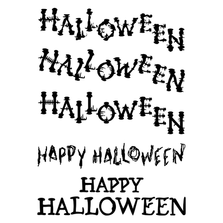 Hand drawn Halloween design illustration set on white backdrop. Ilustração