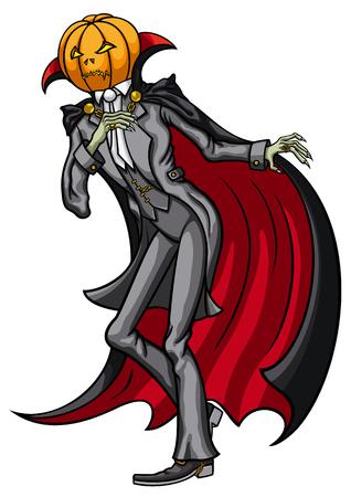 Illustration Jack Pumpkin Head dressed in a costume Banco de Imagens