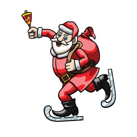 Illustration cartoon Santa dressed in ice skates and ringing a hand bell