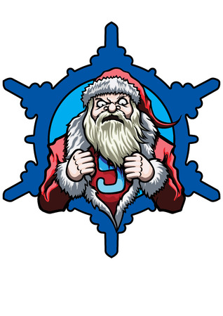 Illustration emblem with Santa. He tears open his coat in a super hero style. A snowflake on the background Stock Photo