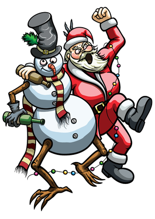 Illustration a drunk Snowman and rowdy roaring Santa Claus hugging  Stok Fotoğraf