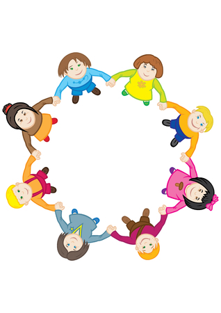 Illustration cartoon children, dancing a roundelay, holding hands. Top view, flat design