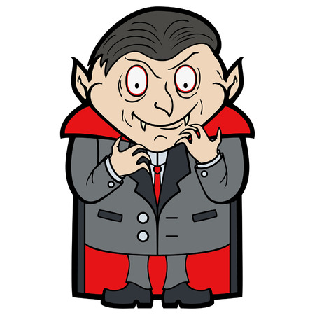 Illustration a funny vampire in a flat cartoon style