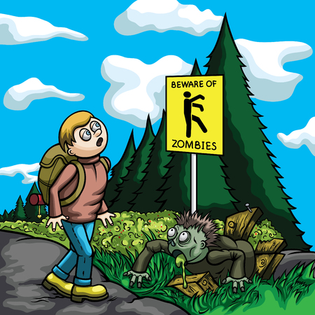 Illustration a tourist, walking on a road. He looks at the caution sign beware of zombies, but doesnt see a zombie one