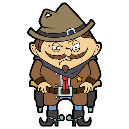 Illustration funny wild west sheriff with guns in a flat cartoon style
