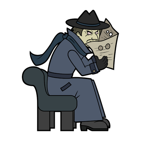 Illustration a secret spy detective in a classic disguise coat, sitting on a bench, peeping through a newspaper with holes